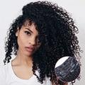 7 UNIDS/10 UNIDS 70G-220G Afro Rizado Rizado Clip En Extensiones de Cabello Clip de La Cabeza Llena en Las Extensiones de Cabello Humano Virginal Del Pelo Negro # 1B