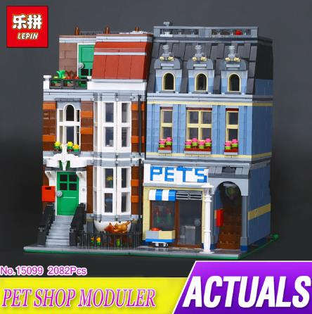 LEPIN 15009 Pet Shop Supermarket Model City Street Building Blocks Compatible 10218 Toys For Children birthday gift in stock compatible city lepin 02005 889pcs the volcano exploration base 02005 building blocks policeman educational toys for children