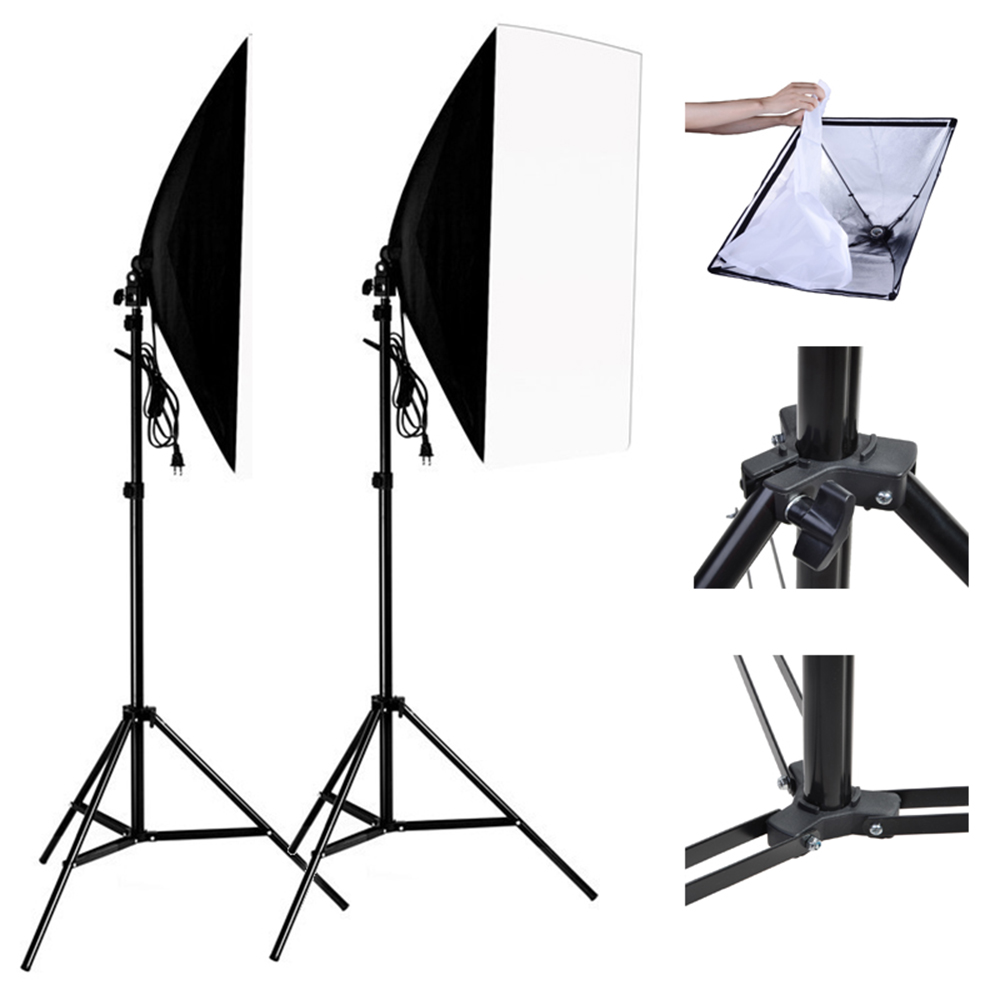 Photo Studio Kit 2 PCS 1.9m Light Stand Triposd + 2 PCS 50*70CM Photography Studio Wired Softbox With E27 Socket Lamp Holder