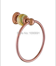 MAIDEER высокое качество роскошь розовое золото латунь + джейд кольцо полотенца вешалка для полотенец аксессуары для ванной комнаты
