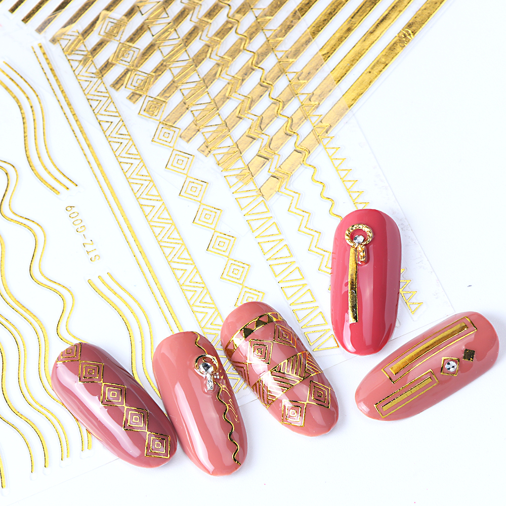 Image 3 - 1pcs Gold Silver Sliders 3D Nail Stickers Straight Curved Liners Stripe Tape Wraps Geometric Nail Art Decorations BESTZG001 013-in Stickers & Decals from Beauty & Health
