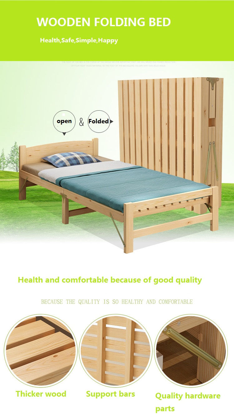 - Solid Wood Folding Bed Single Double Bed Adult Lunch Break 1.2 M