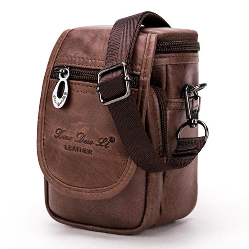 Leather Cowhide Men Waist Pack Shoulder Crossbody Bag Fashion Belt Waist Fanny Pack Phone Cigarette Case Bag Wallet