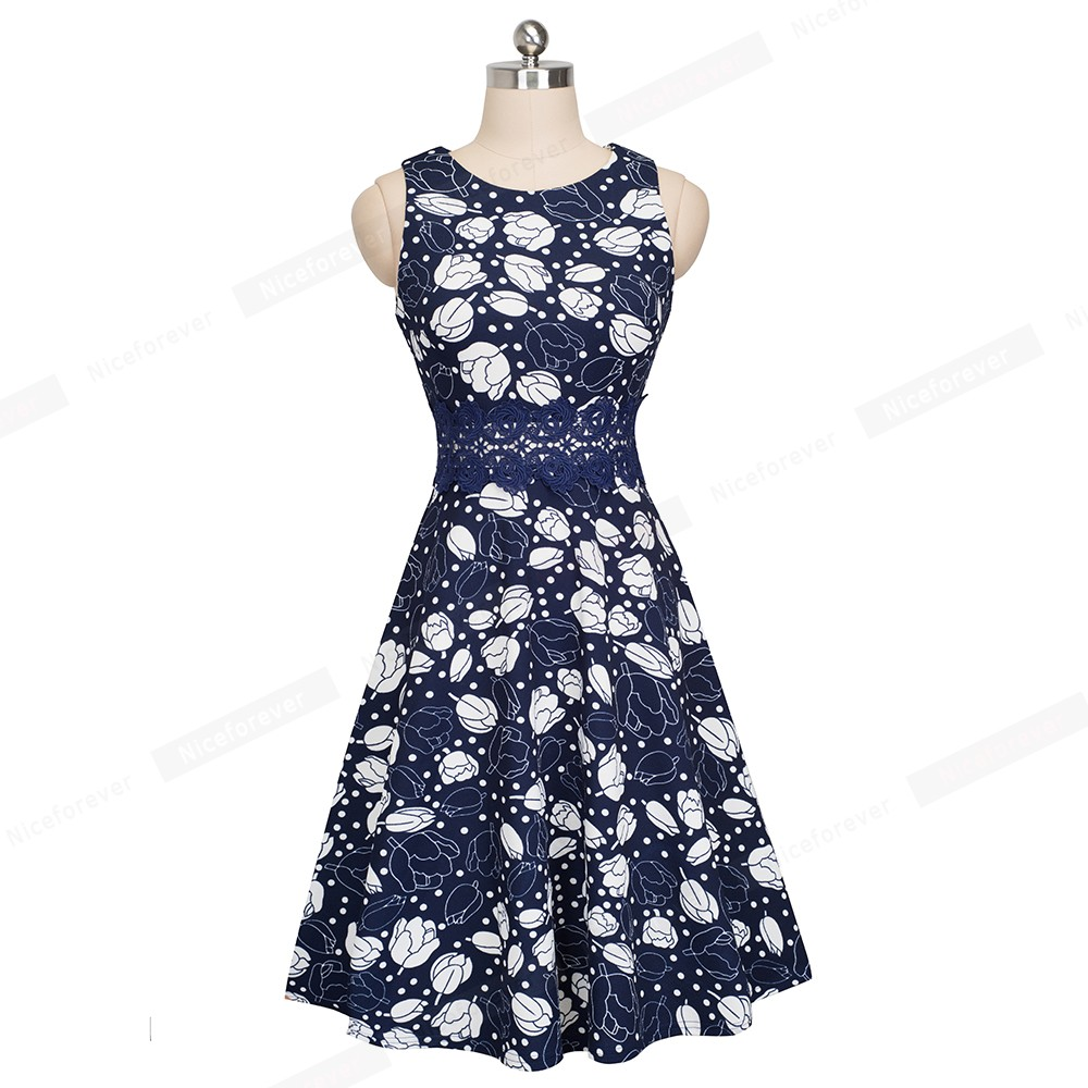 Nice-forever Vintage Elegant Embroidery Floral Lace Patchwork vestidos A-Line Pinup Business Women Party Flare Swing Dress A079 103