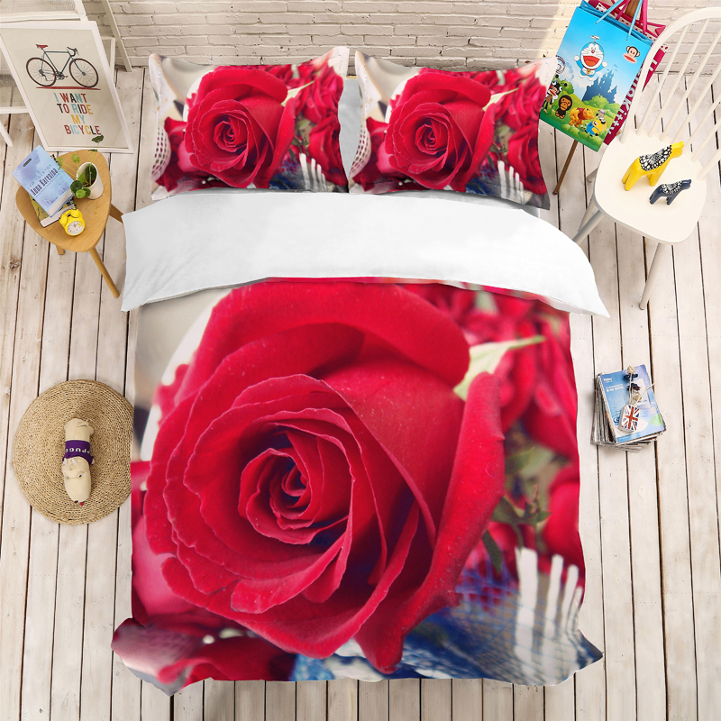 Rose 3D Digital Printing Bedding Set colorful Flower Duvet Covers Pillowcases Comforter Sets Bedclothes Bed Linen