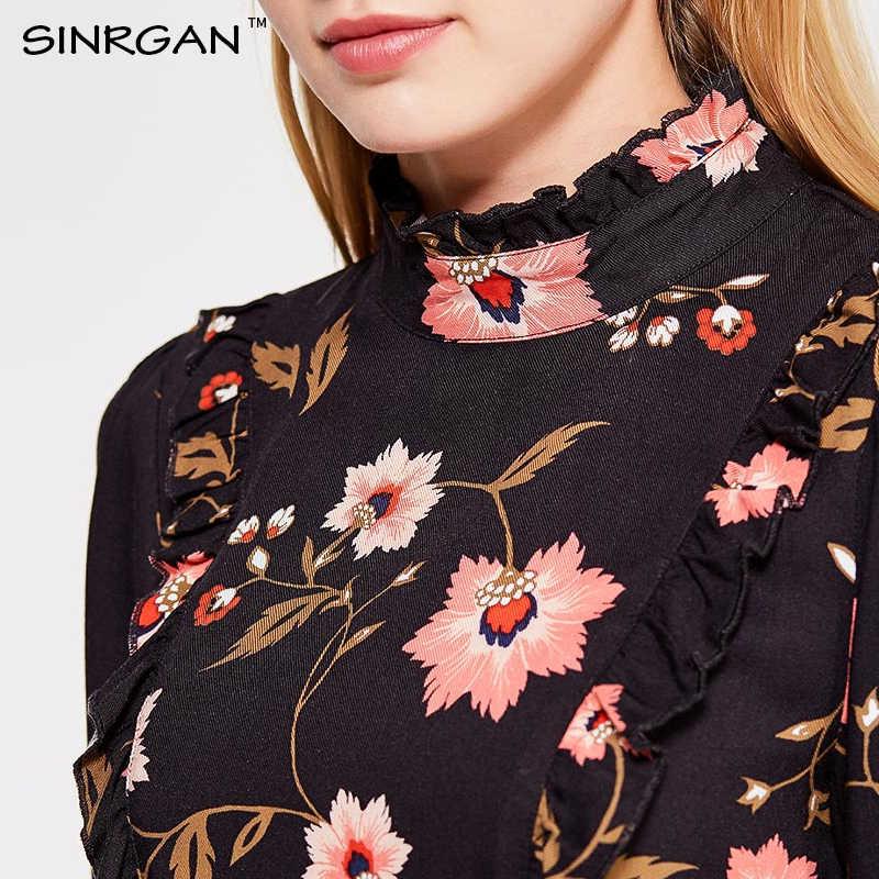 SINRGAN Черный цветочный принт с рюшами женщин зима платье с длинным рукавом Тонкий сексуальное платье Женский Vestidos А линия элегентный теплое платье кружева