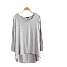 New 100% Cotton Spring Female Long Sleeve T Shirt Women O Neck Bat Casual Loose Big Size Asymmetric T-shirts Top D4