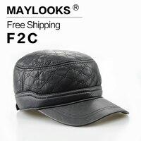 עור השחור פו של גברים חם מכירת Maylooks כובעים לגברים שטוח cap מתכוונן כובעי כובע עם איכות גבוהה ומחיר נמוך cs06