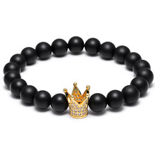 Mcllory Men bracelet Natural stone beads Charm crown crystal Bangles &Bracelets Drop shipping Trendy pulseiras para as mulheres(China)