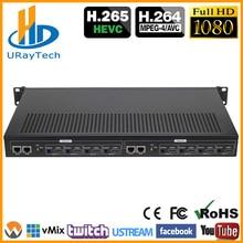 1U стойки HEVC H.265 H.264 HDMI видео поток кодер Live Streaming кодер высокого расширения 8 Каналы HDMI к HTTP RTSP RTMP кодер