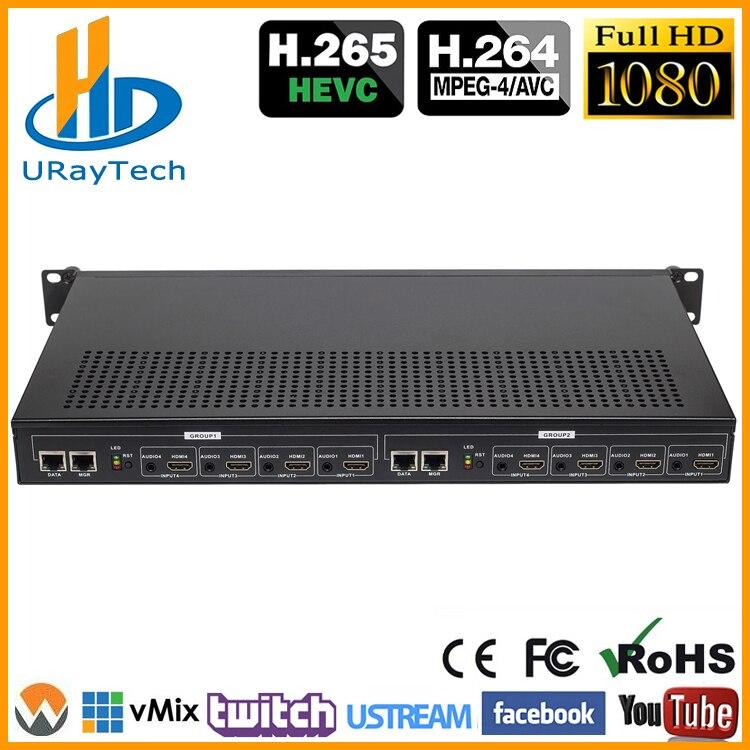 Rack de 1U HEVC H.265 H.264 HDMI Codificador De Stream de Vídeo Ao Vivo Canais de Streaming HD IPTV Codificador 8 HDMI Para HTTP RTSP RTMP Codificador