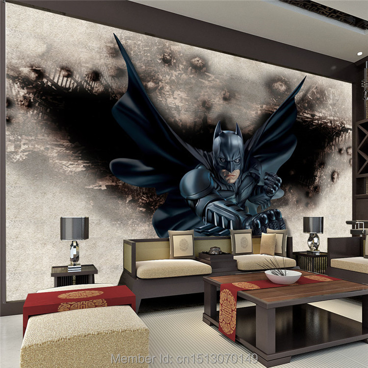 Superhero Bedroom Wallpaper Bedroom Accessories Bedroom Ideas Young Couple Bedroom Furniture Floor Plan: 3D Amazing Batman Wall Mural Custom Large Photo Wallpaper