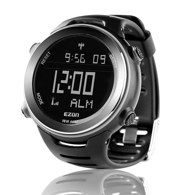 Reloj deportivo Digital EZON Radio Wave Calibrate Time para hombre para correr al aire libre Casual natación impermeable 50 m reloj de pulsera Montre Homme-in Relojes deportivos from Relojes de pulsera    1