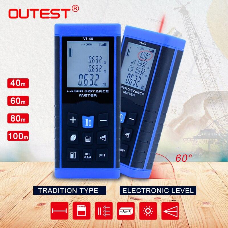 OUTEST Mini Laser Distance Meter 40M 60M 80M 100M Rangefinder Trena Laser Tape Rangefinder Build Measure Device Ruler Test Tool
