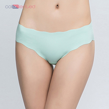 COLORIENTED Wholesale Candy Color Womens Panties Low Waisted Seamless Briefs Plus Size Ice Silk Cool Unique 3D Heart Shape