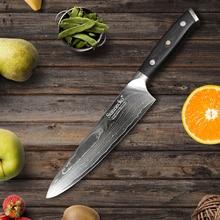 SUNNECKO Profesionální 8 palců šéfkuchařský nůž Damascus Cut japonský VG10 ocelový ostří nože kuchyňské nože G10 rukojeť nože na vaření