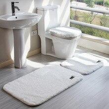 4pcs/set High Quality Anti-slip Pedestal Rug Bath Mat Solid Color Super Soft Toilet Seat Cushion Lid Covers Set Floor Carpet