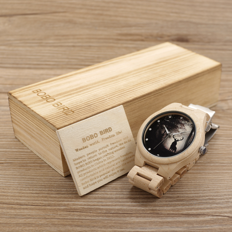 2017 Top Brand BOBO BIRD Men Watches Wood Watch Wood Band Quartz Movement Wristwatch relogio masculino B-H02 bobo bird luxury designer watches men style wooden watch wood strap wristwatch with paper gift box relogio masculino brand top