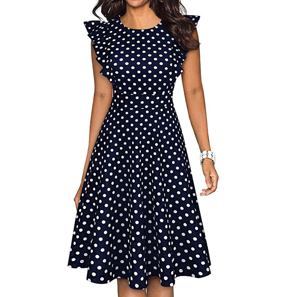 Sleeper #401 19 NEW FASHION Women Vintage Dot Printed Ruffle Sleeveless Casual Cocktail Party Dresses casual hot Free Shipping 6