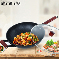 Master Star Non stick Skillet Cast Iron Pot General Use For Gas And Induction Cooker Smokeless Wok With Lid
