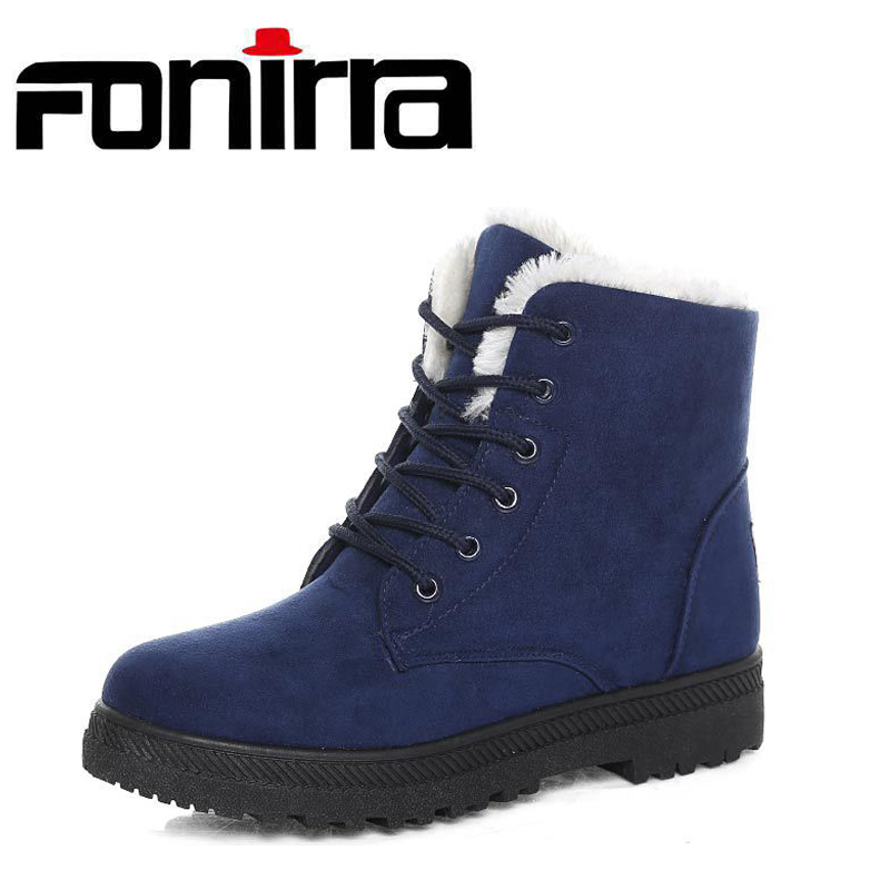 FONIRRA Women Winter Ankle Boots Warming Plus Size 35-44 Lace Up Flock Flats Snow Boots for Ladies Winter Shoes Botas Mujer 225