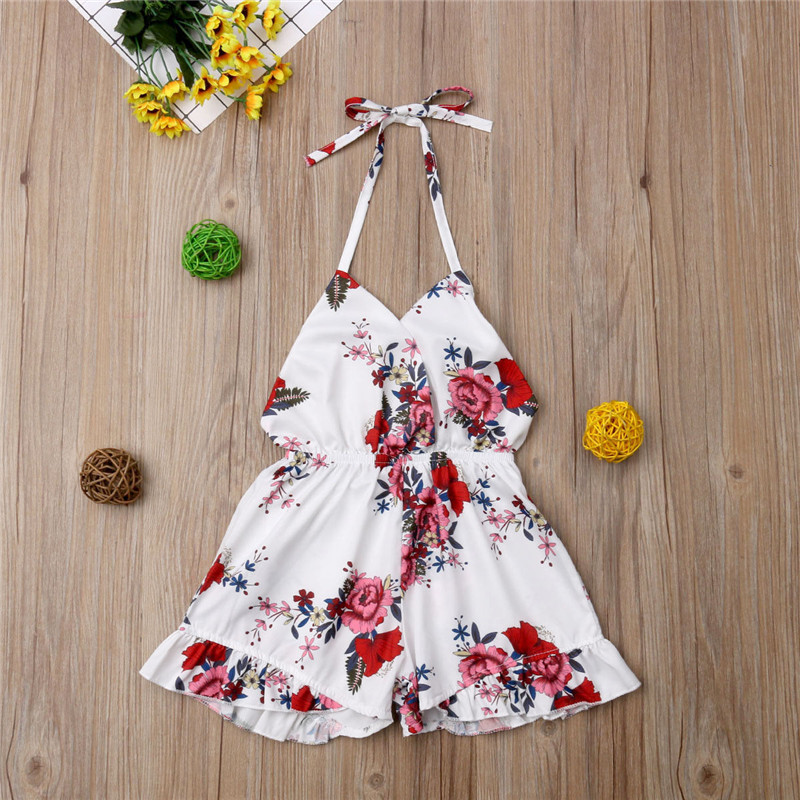 1-6T Newborn Kids Baby Girls Floral   Romper   Elegant halter Sleeveless Clothing Boho Beach Summer Cute Princess Outfits