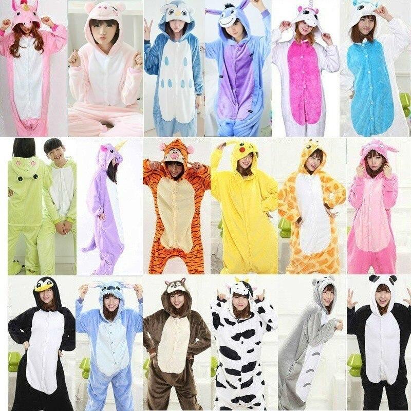 2018 Spring Winter Flannel Lovers Couples Women Unicorn Animal Pajamas Cartoon Sleepwear Cheap Adult Animal Unicornio Onsies