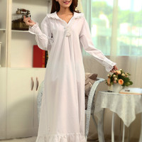 High end Women's Maternity Long Robe Summer Pregnancy Pajamas Home Wear Long Sleeve Cotton Sleepshirts Nightgown Sleepwear CE870