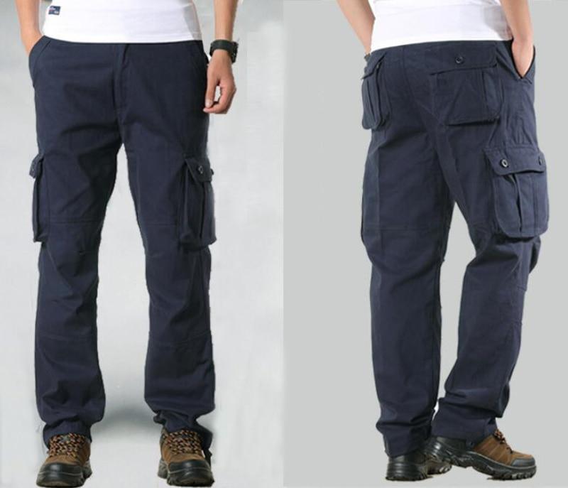 HTB19 yAayHrK1Rjy0Flq6AsaFXaF Men's Cargo Pants Mens Casual Multi Pockets Military Large size 44 Tactical Pants Men Outwear Army Straight slacks Long Trousers