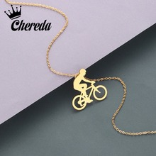 Chereda Korean Stainless Steel Necklace&Pendants Chain Women Collar Smooth Charm Necklaces Clothing Accessories