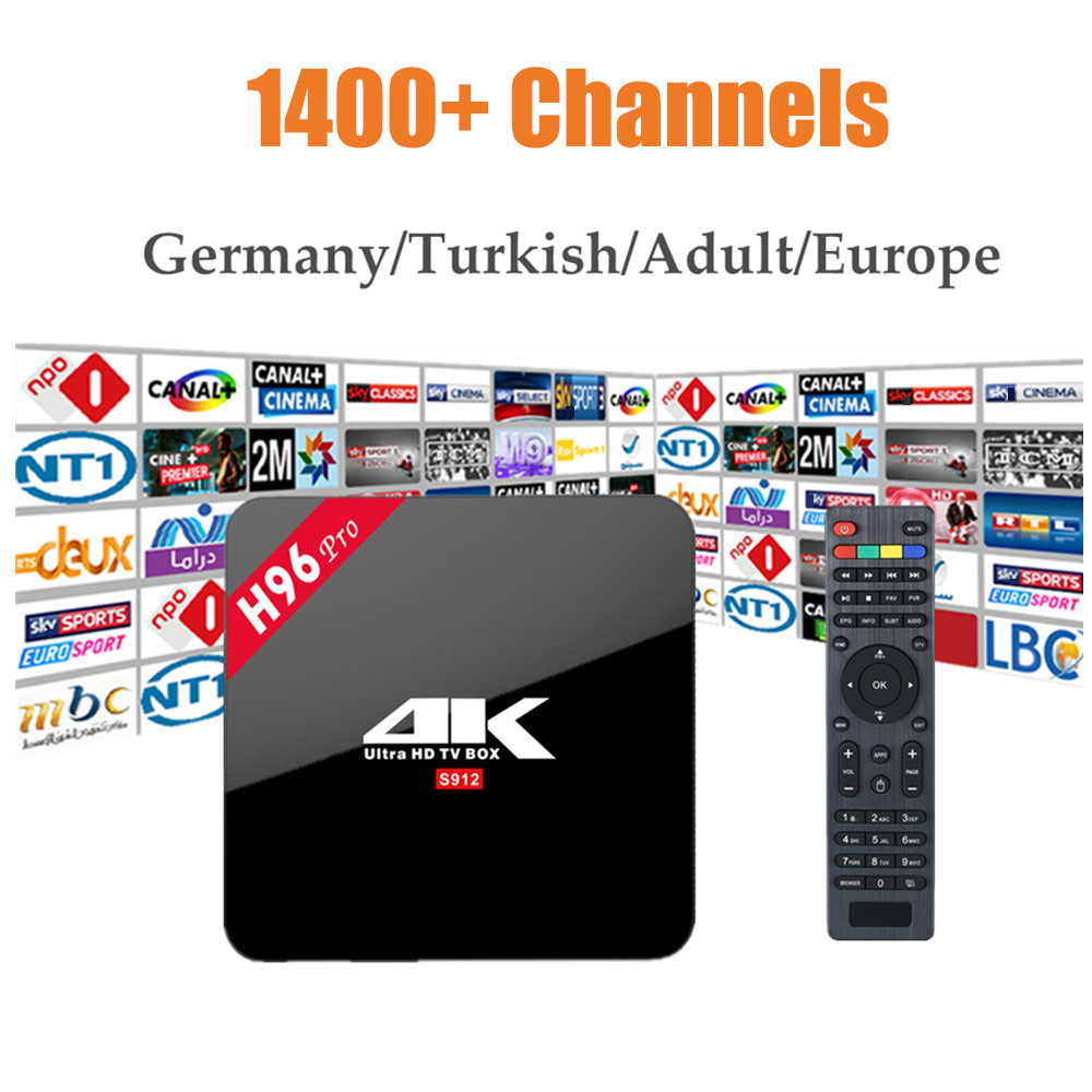 H96 Pro Android 7.1 Amlogic S912 Kodi 16.1 4K HDR Media Player android tv Box With Arabic US Canada Sweden European IPTV Server медиаплеер merlin 4k android media hub