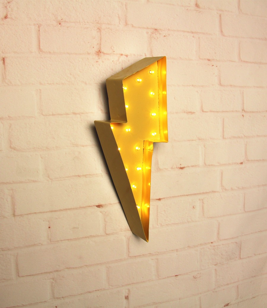 White metal Cloud lightning ray LED Marquee Sign LIGHT UP Vintage ...