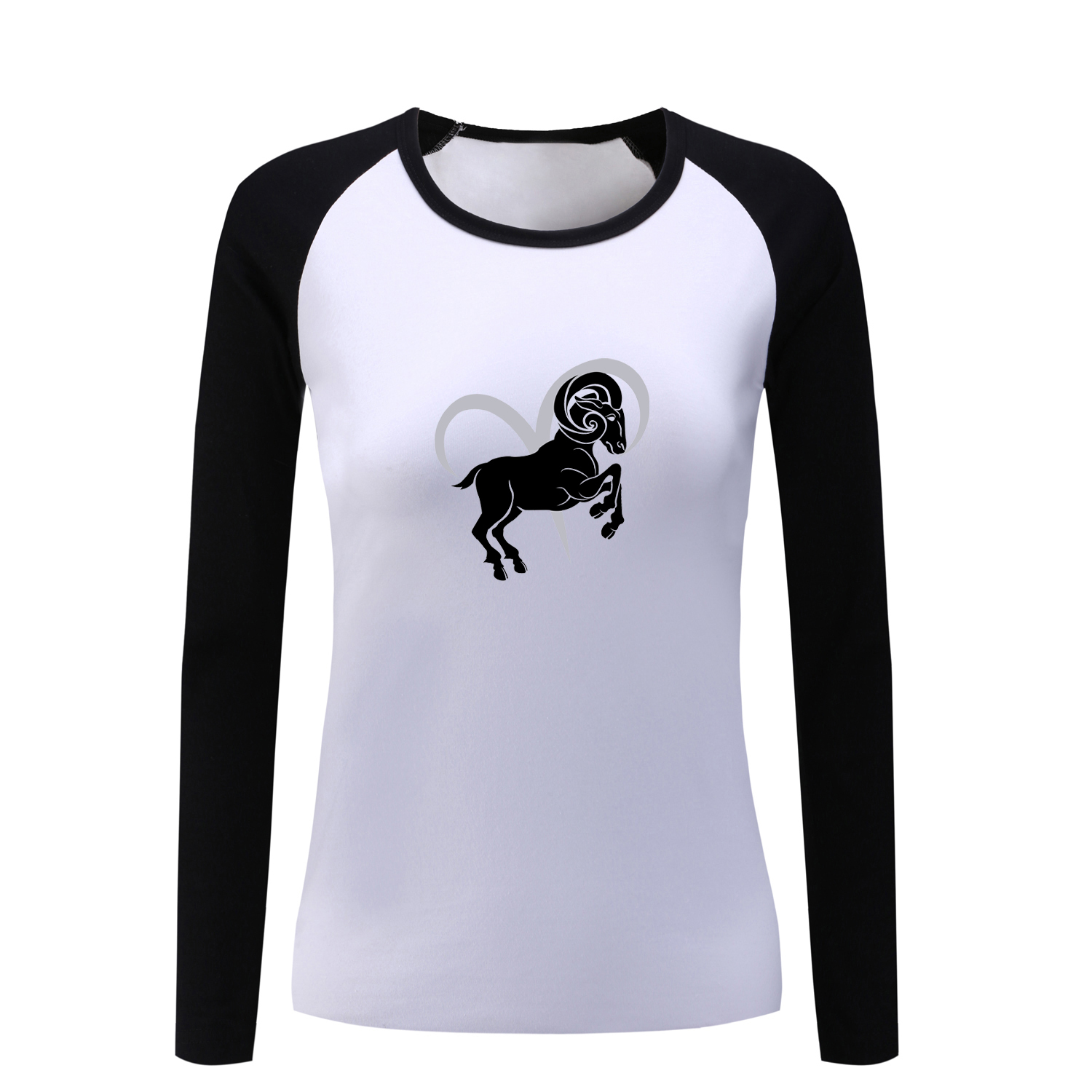 Design t shirt long sleeve - Constellation Aries Taurus Tattoo Design Long Sleeve T Shirt Women Horse Tshirt Cotton T Shirt