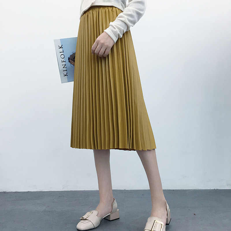 e558e57af3 2019 Spring New Arrival Faldas Muje Pu Accordion Pleated Skirt Elegant High  Waist Leather Skirt 8