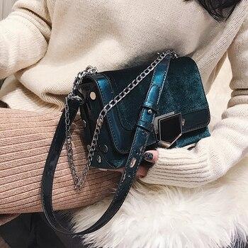 4786e5c91049 2018 Ретро мода новые женские сумки женские дизайнерские сумки высокого  качества бархатная женская сумка цепь сумка на плечо телефон квадрат.