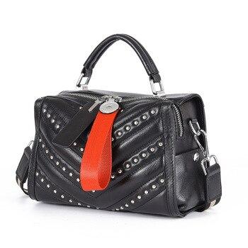 Genuine Leather Women Bag Fashion Rivet Shoulder Messenger Bag Simple Small Square Bags Cowhide Leather Handbag Large Capacity