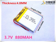 Free shipping Polymer battery 880 mah 3.7 V 483947 smart home MP3 speakers Li-ion battery for dvr,GPS,mp3,mp4,cell phone,speaker