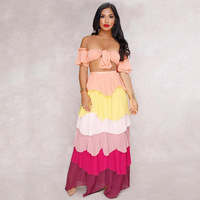 Cold Shoulder Sexy 2 Piece Set Women Summer Short Flare Sleeve Bow Crop Top And Colorful