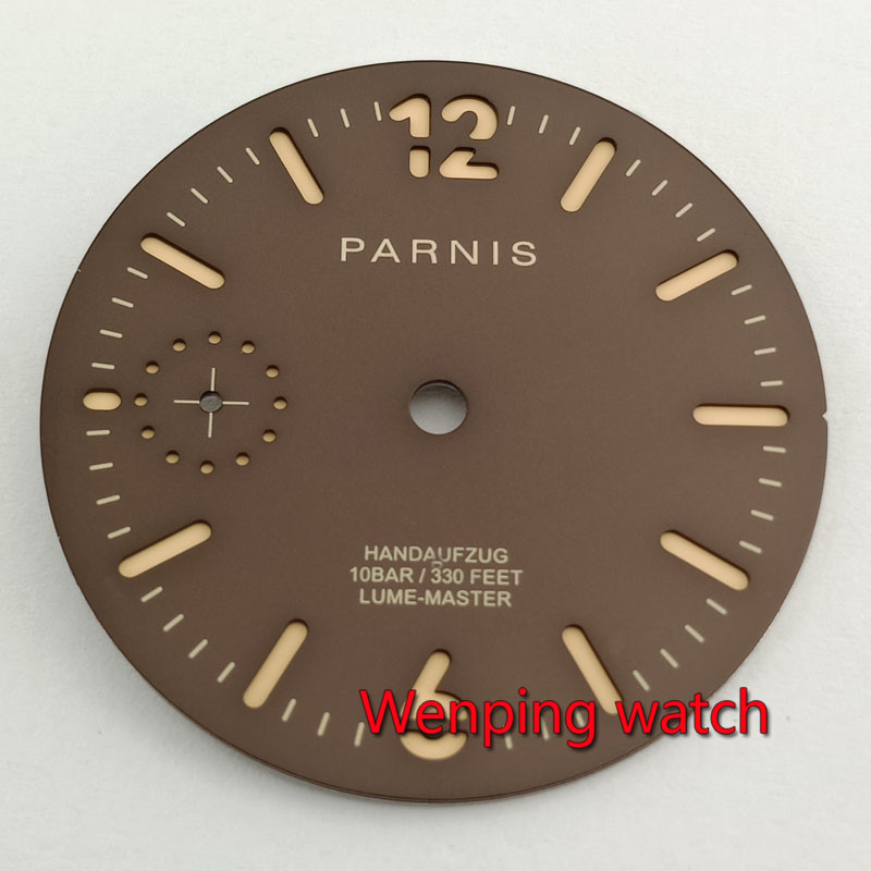 Parnis 35.4mm brown coffee watch dial Fit ETA 6497 seagull <font><b>st3600</b></font> hand winding movement P910 image