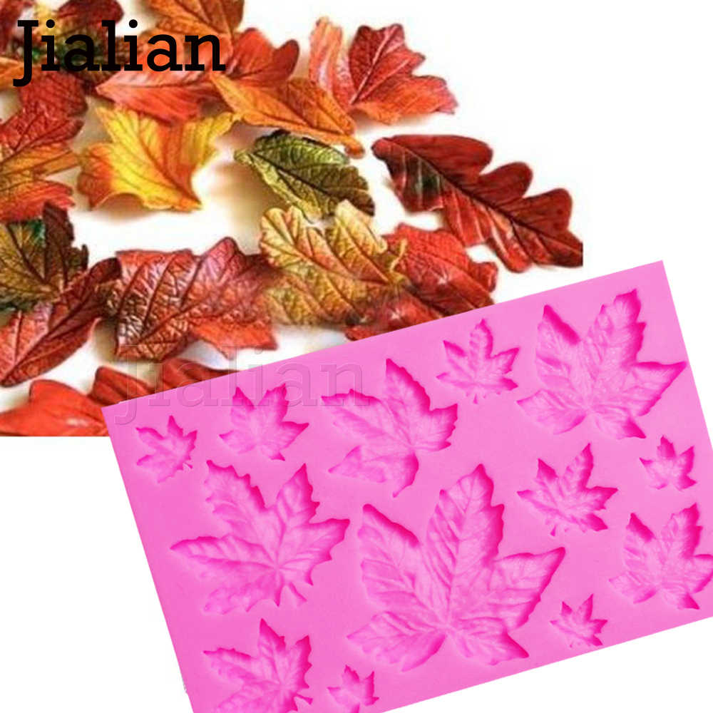 Silicone Maple Leaf Mold For Cake Decoration Decorating tools Fondant 3D Silicon Gum Paste Moldes De Silicon F0973