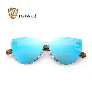 Image 3 - HU WOOD nuevas gafas de sol de moda hombres mujeres mariposa gafas de sol marco de madera Natural sin montura para conducir, para pescar UV400 GR8025