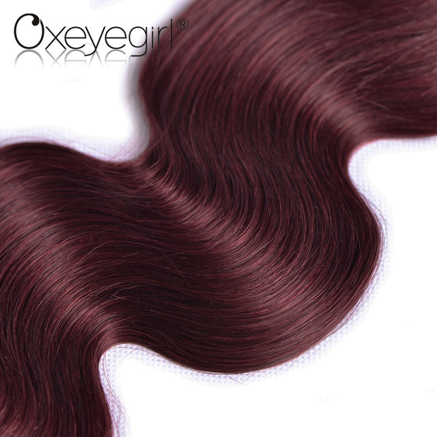 altOxeye girl Burgundy Brazilian Hair Weave Bundles Body Wave Human Hair Bundles 10-24 99J Red Hair Non Remy Hair Extensions 1 PC