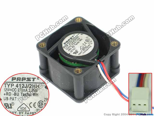 ebmpapst 412J/2HH Server Square fan DC 12V 3.25W ebmpapst a6e450 ap02 01 ac 230v 0 79a 0 96a 160w 220w 450x450mm server round fan outer rotor fan