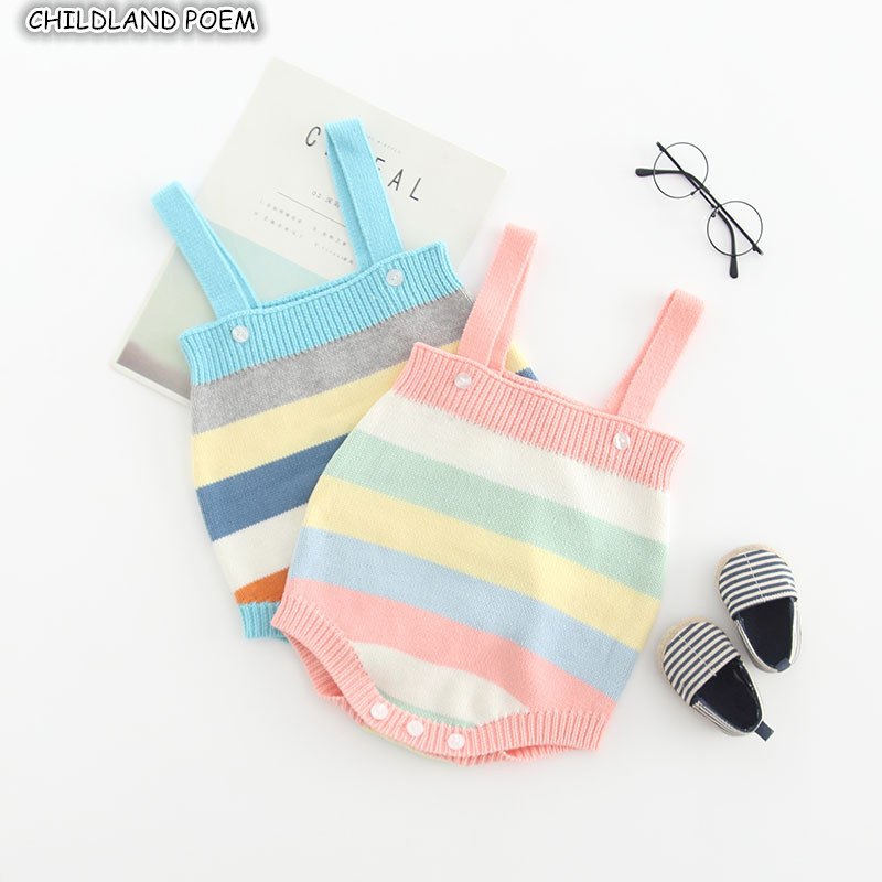 Knitted Baby Clothes Rainbow Newborn Baby   Rompers   for Girls Cotton Sleeveless Infant Baby Jumpsuit for Boys   Romper   Overalls