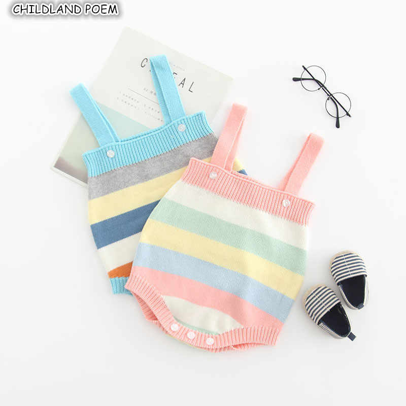 Rajutan Pakaian Bayi Pelangi Baru Lahir Bayi Rompers untuk Anak Perempuan Katun Tanpa Lengan Bayi Bayi Jumpsuit untuk Anak Laki-laki Baju Monyet Overall