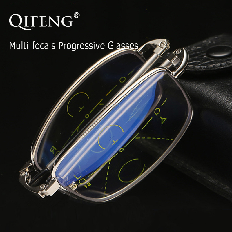 QIFENG Multi-focus Progressive Reading Glasses Men Women Folding Diopter Presbyopic Foldable Male +1.0+1.5+2.0+2.5+3.0+3.5 QF212