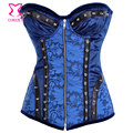 Blue Brocade Steampunk Corset Push Up Bustier To Corselet Zipper Burlesque Steel Boned Waist Slimming Corsets Gothic Clothing