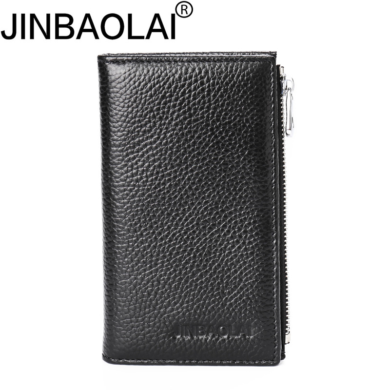 JINBAOLAI Men Wallet Genuine Cow Leather Long Purse Card Holder Zipper Clutch Vintage Bag Magic Wallets Portfolio Carteras Mujer luxury brand vintage handmade genuine vegetable tanned cow leather men women long zipper wallet purse wallets clutch bag for man