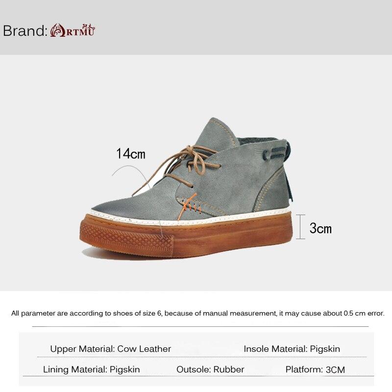 Artmu 원래 높은 샤프트 여성 신발 새로운 두꺼운 유일한 정품 가죽 손수 신발 한국어 스타일 캐주얼 신발 389 108-에서여성용 플랫부터 신발 의  그룹 3