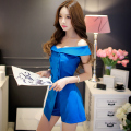 Original 2016 Brand Short Combinaison Femme Summer Plus Size Buttons Fashion Elegant Solid Color Blue Playsuits Women Wholesale